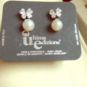 Italian Pearl Butterfly Cubic Zirconia Earrings
